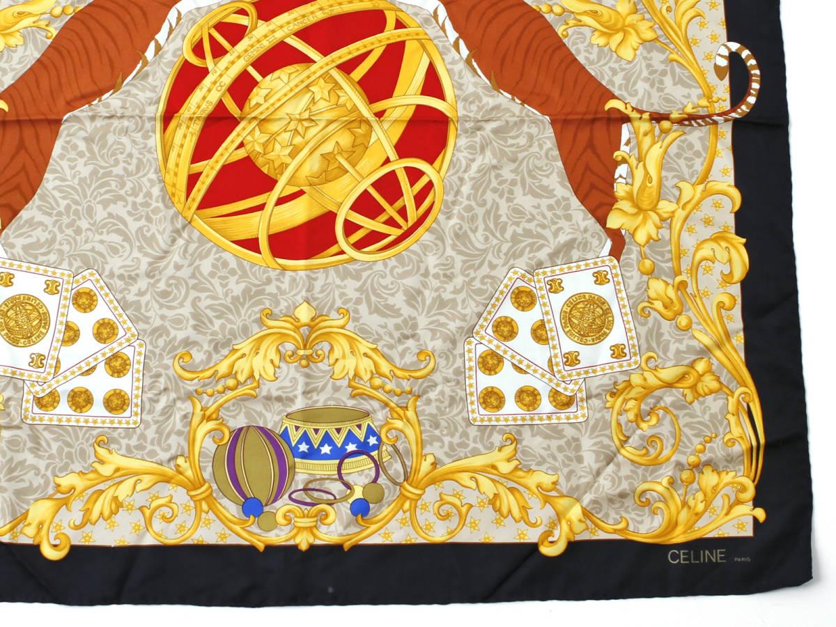 美品 CELINE セリーヌ スターボール 虎柄 ロゴあり シルク100% 大判 スカーフ イタリア製 ストール ベルトにも ヴィンテージ 85×85cm_画像4