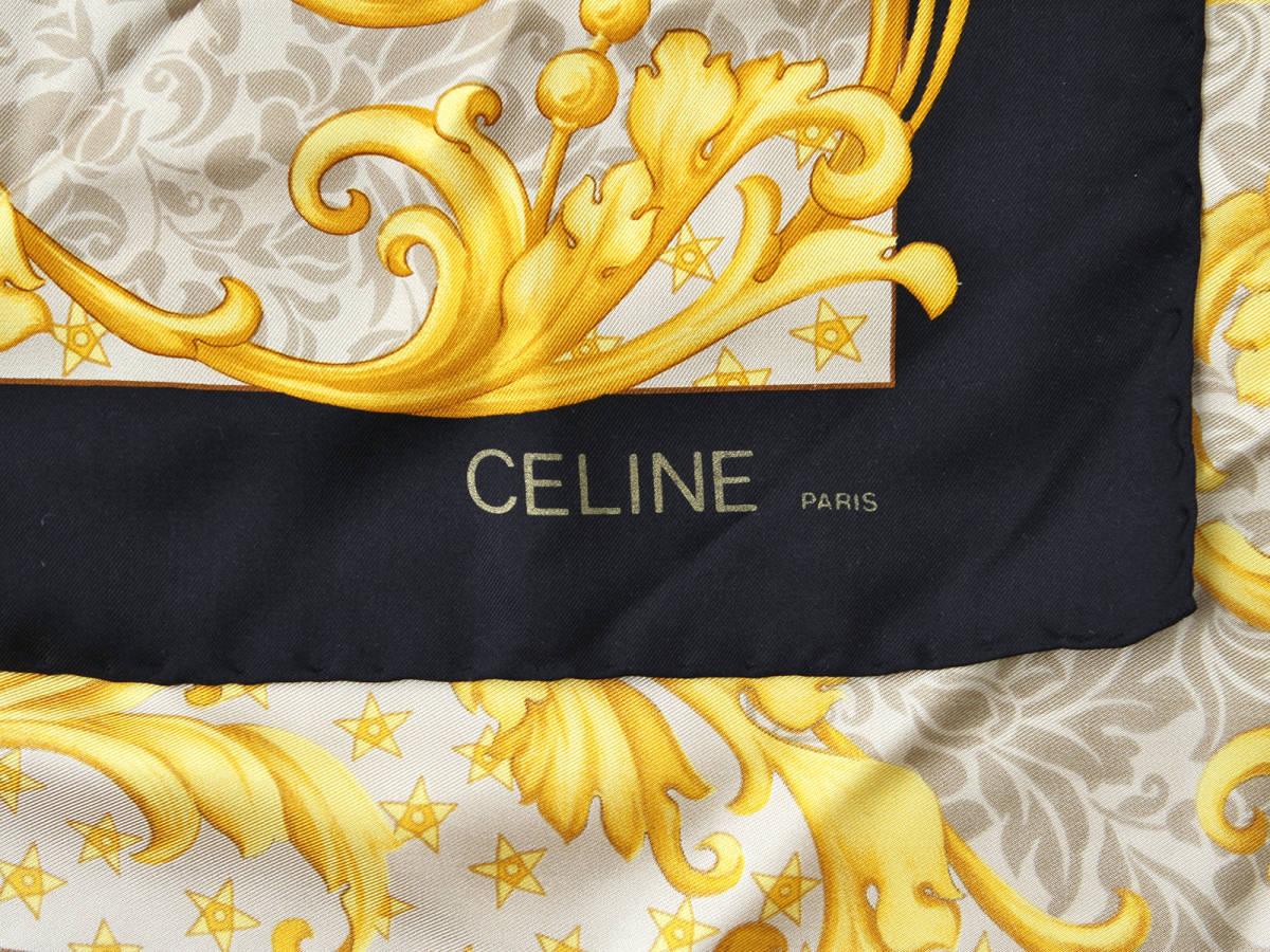 美品 CELINE セリーヌ スターボール 虎柄 ロゴあり シルク100% 大判 スカーフ イタリア製 ストール ベルトにも ヴィンテージ 85×85cm_画像5