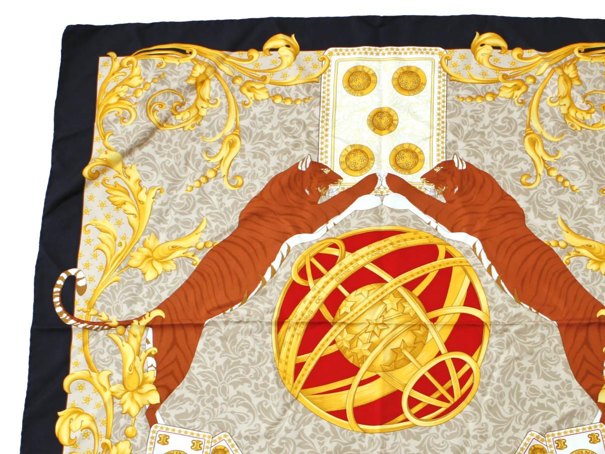 美品 CELINE セリーヌ スターボール 虎柄 ロゴあり シルク100% 大判 スカーフ イタリア製 ストール ベルトにも ヴィンテージ 85×85cm_画像3