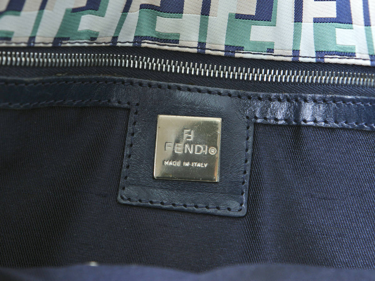 FENDI フェンディ ズッカ ナイロン× レザー トートバッグ マルチカラー ハンドバッグ イタリア製 ヴィンテージ 希少アイテム 保管袋付_画像9