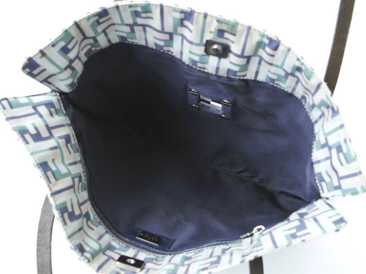 FENDI フェンディ ズッカ ナイロン× レザー トートバッグ マルチカラー ハンドバッグ イタリア製 ヴィンテージ 希少アイテム 保管袋付_画像8