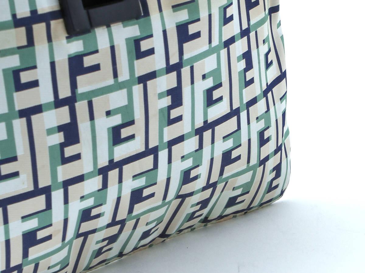FENDI フェンディ ズッカ ナイロン× レザー トートバッグ マルチカラー ハンドバッグ イタリア製 ヴィンテージ 希少アイテム 保管袋付_画像4