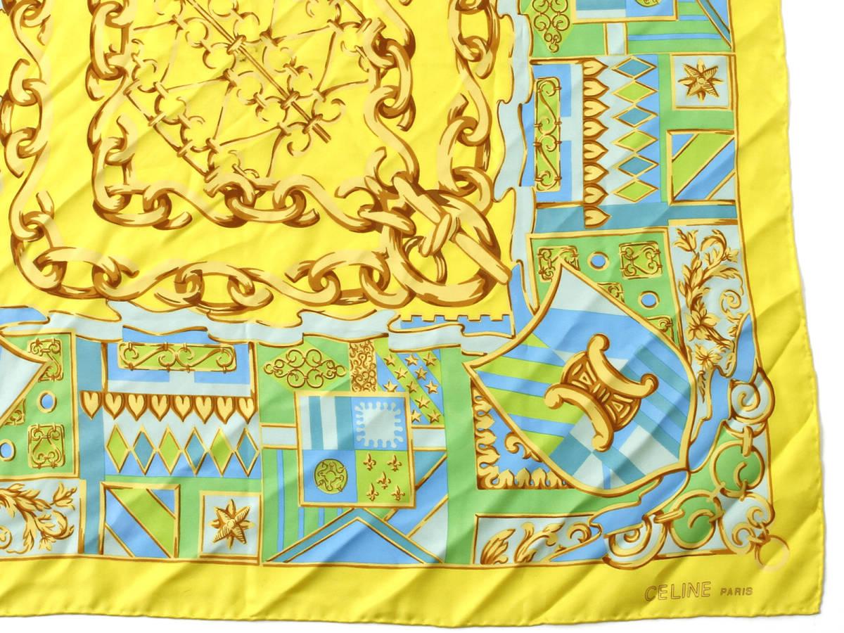 美品 CELINE セリーヌ ロゴ有 シルク100% 大判 スカーフ ブラゾン エンブレム 紋章柄 イタリア製 ストール ベルトにも ヴィンテージ 85×85_画像4