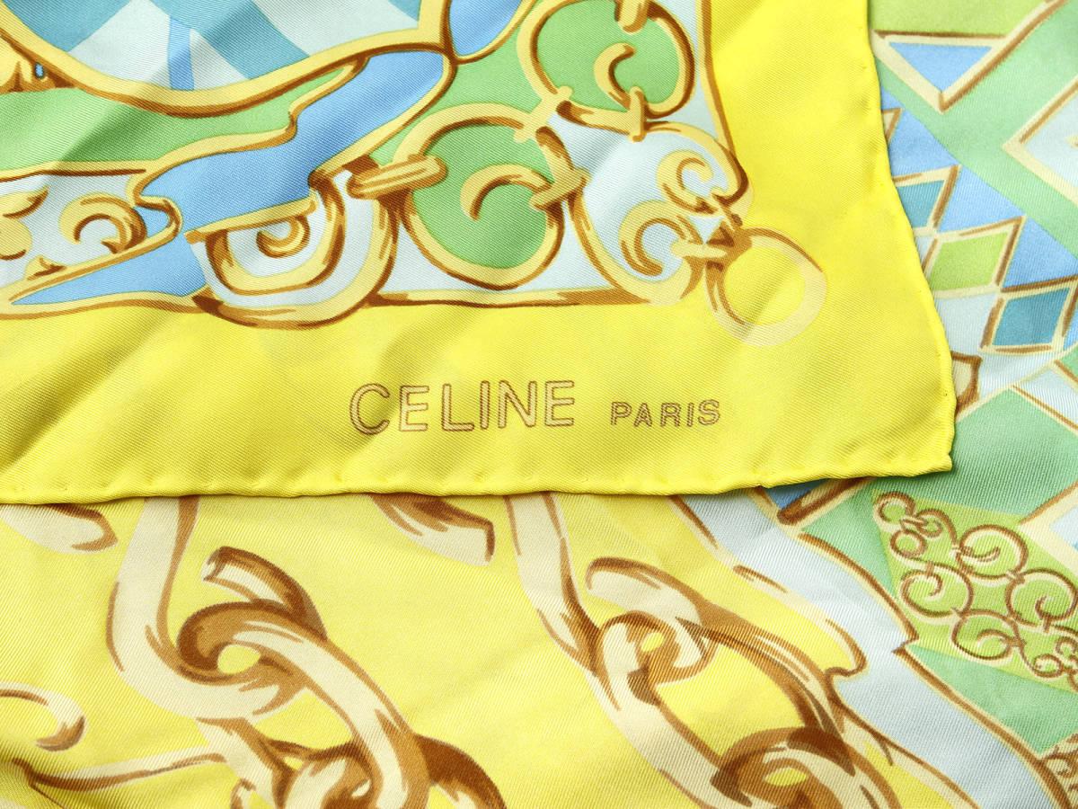 美品 CELINE セリーヌ ロゴ有 シルク100% 大判 スカーフ ブラゾン エンブレム 紋章柄 イタリア製 ストール ベルトにも ヴィンテージ 85×85_画像5