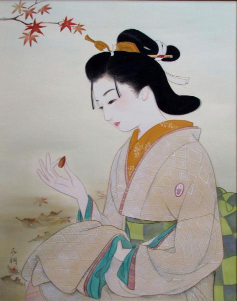 AT-21 真作保証 喜翔 女流画家 佃 喜翔による美人画 「秋色」10号 _画像7