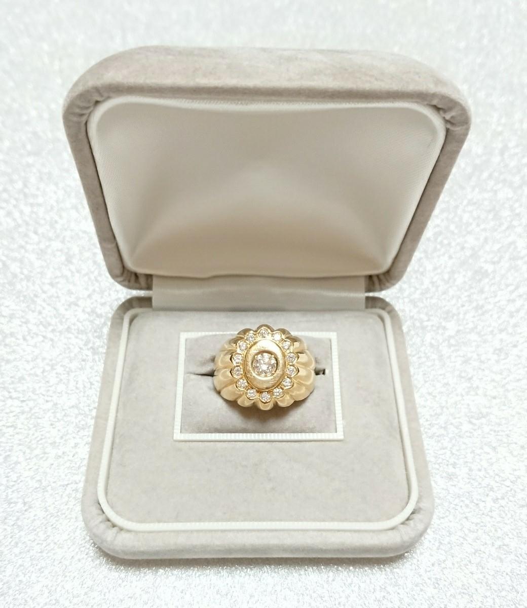 【18金YG&ダイヤモンド/リング】K18YG 24,5g/天然ダイヤモンド 0,62ct(0,32/0,30) リング 指輪【大丸百貨店購入】