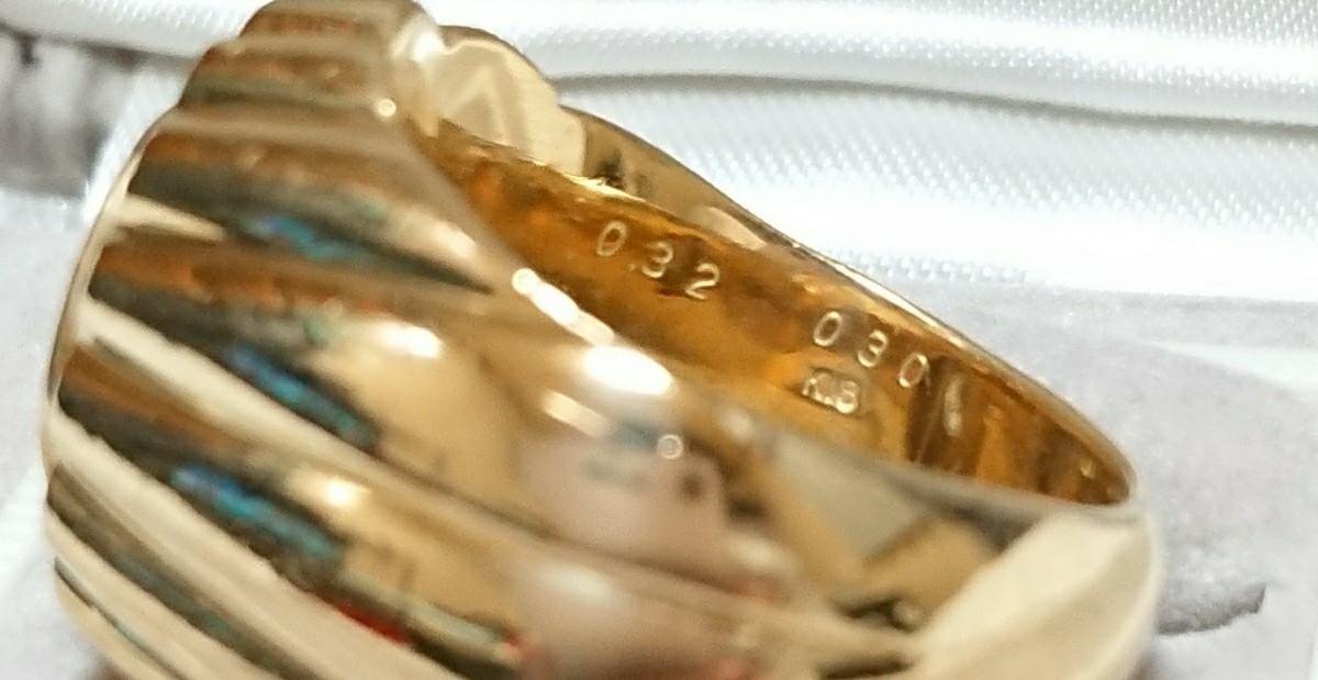 【18金YG&ダイヤモンド/リング】K18YG 24,5g/天然ダイヤモンド 0,62ct(0,32/0,30) リング 指輪【大丸百貨店購入】_画像8