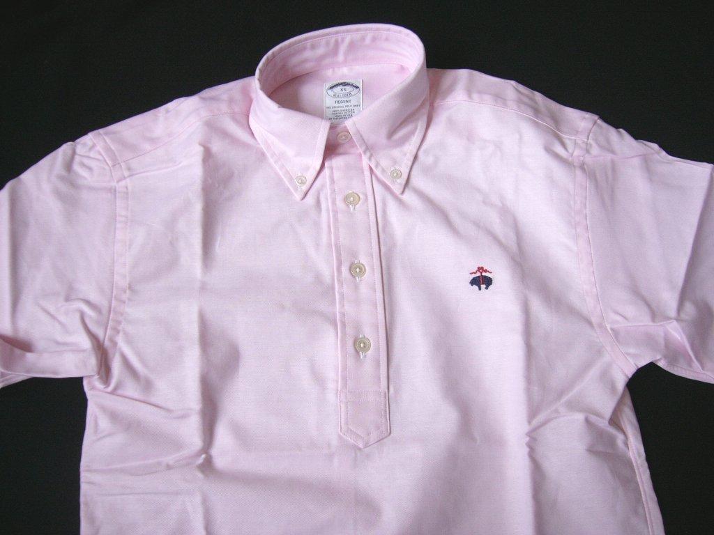 未使用 M (USA) ブルックスブラザーズ 半袖 REGENT フリースロゴ刺繍 米国製 PINK プルオーバー オックスフォード ボタンダウン シャツ_画像1