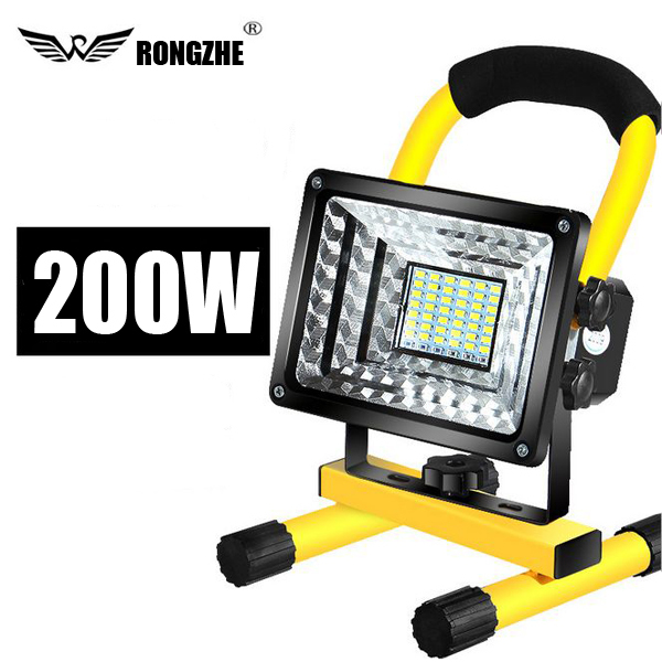 【200W】 投光器 充電式 便利 持ち運び ワークライト 照明 LED 防災 非常灯 釣り キャンプ アウトドア ___ 高輝度 作業灯 防水 手持ち
