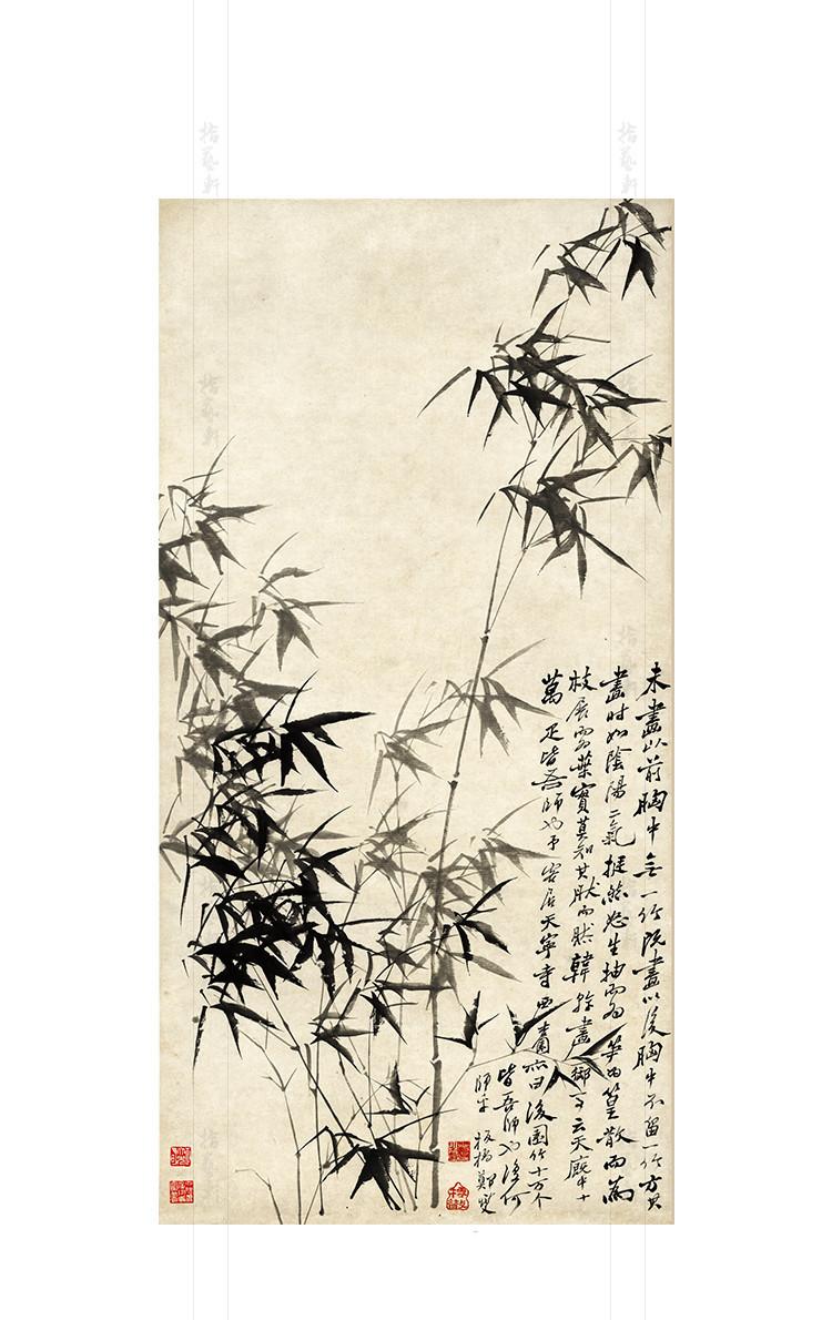 中国の名画 【美術品】 鄭板橋 風竹石図 客間に絵を飾る