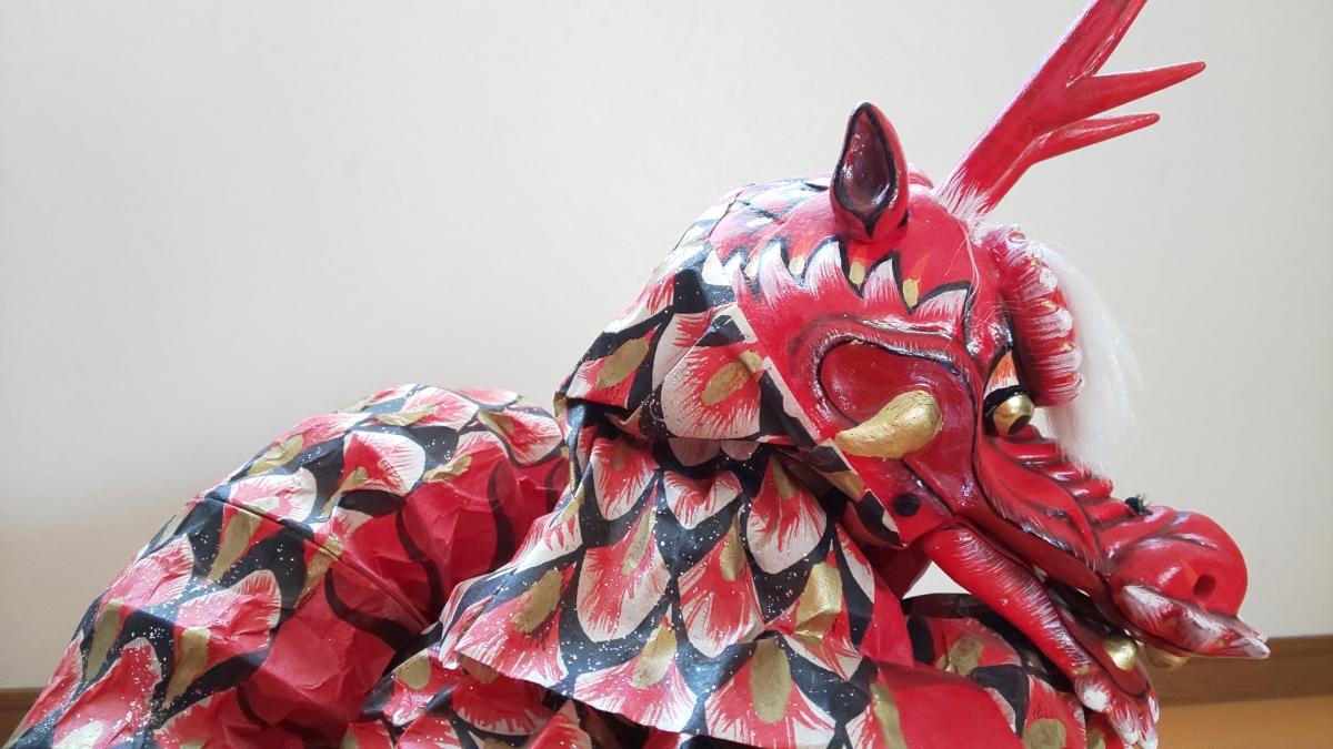 石見神楽 大蛇 蛇胴 八岐大蛇 置物 ミニチュア 模型 伝統工芸 和紙_画像8