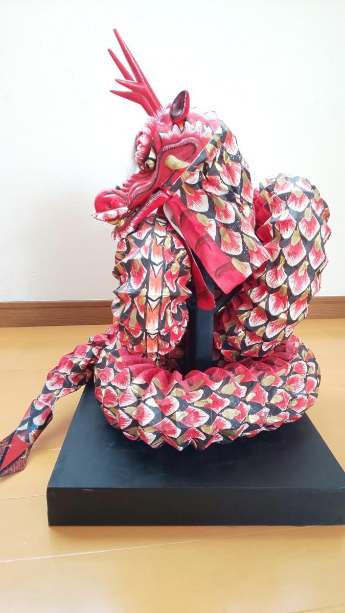 石見神楽 大蛇 蛇胴 八岐大蛇 置物 ミニチュア 模型 伝統工芸 和紙_画像4