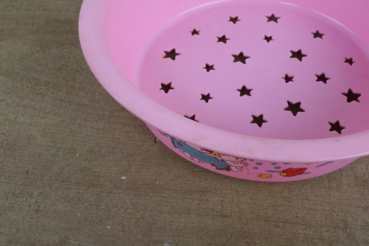 希少 1976年 当時物 昭和レトロ サンリオ リトルツインスターズ キキララ 風呂桶 洗面器 2重 水切りセット_画像9