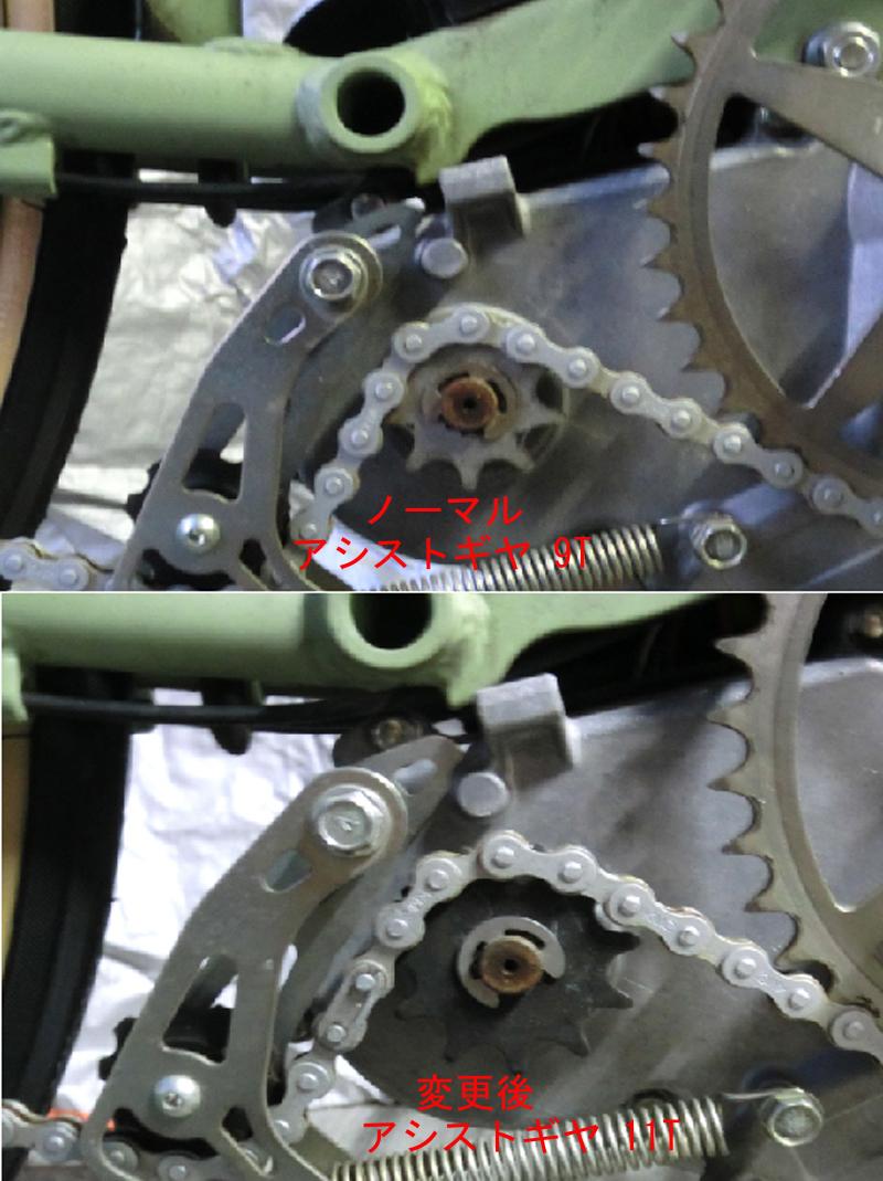 送無/YAMAHAブレイス BRIDGESTONEリアルストリーム後輪 マグネットスピードセンサー 改造加工品リミッターカット_アシストギヤ11T装着例