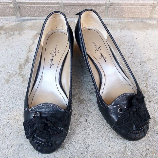 銀座カネマツ 24cm パンプス 靴 黒 通勤 フェミニン エレガント GINZA Kanematsu