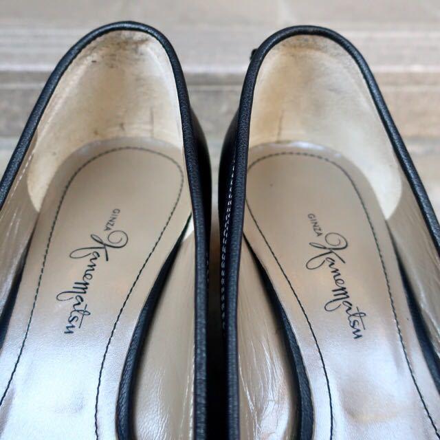 銀座カネマツ 24cm パンプス 靴 黒 通勤 フェミニン エレガント GINZA Kanematsu_画像2