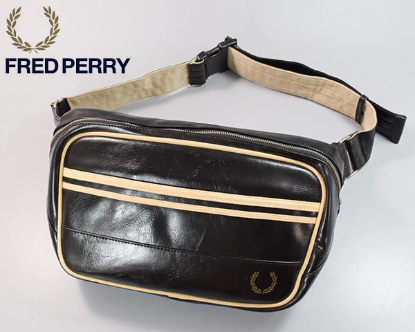 A16610■FRED PERRY フレッドペリー■PVC×キャンバス・ロゴプリント・ウエストバッグ・ボディバッグ■斜め掛け■大型■ブラック■