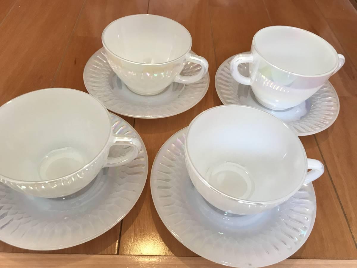 フェデラル カップ9個、ソーサー4枚 セット USA ミルクガラス 昭和レトロ_画像2
