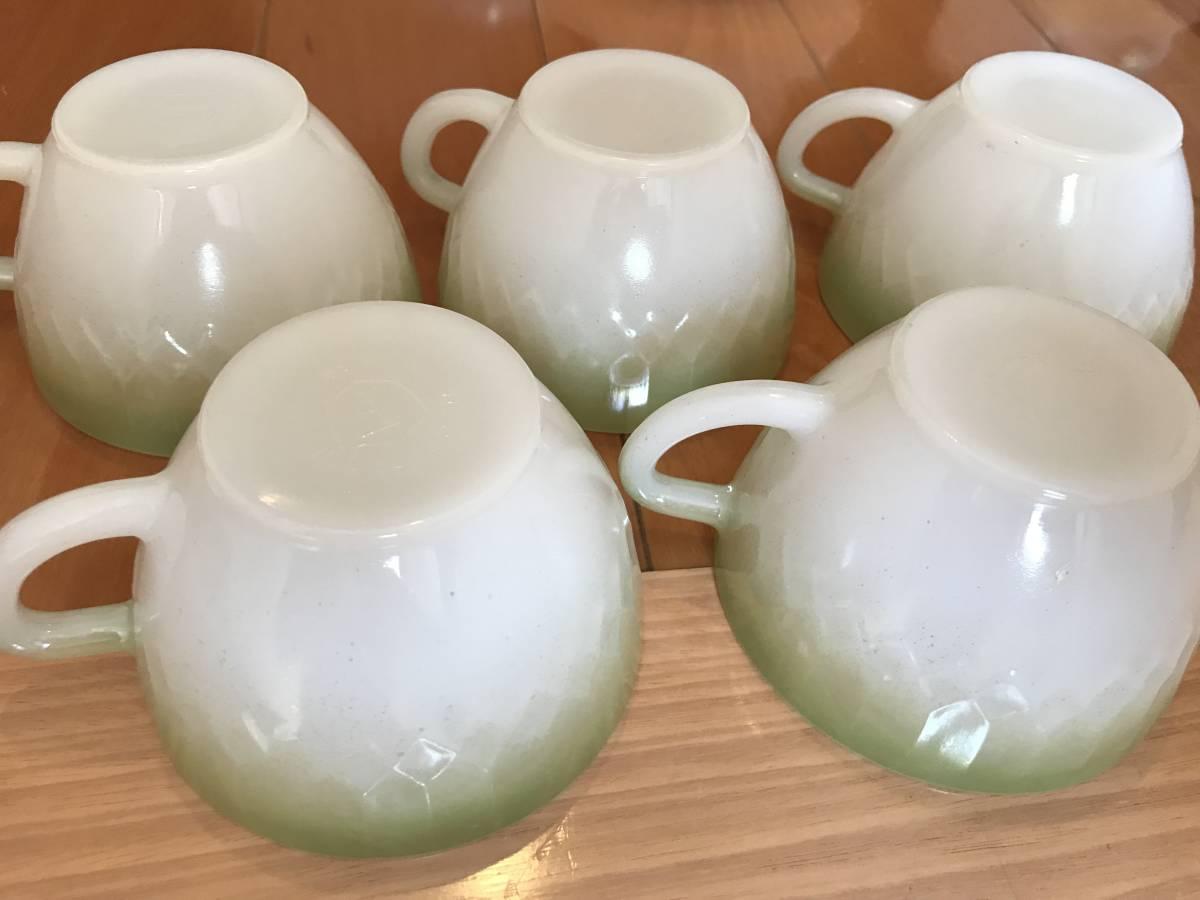 フェデラル カップ9個、ソーサー4枚 セット USA ミルクガラス 昭和レトロ_画像9