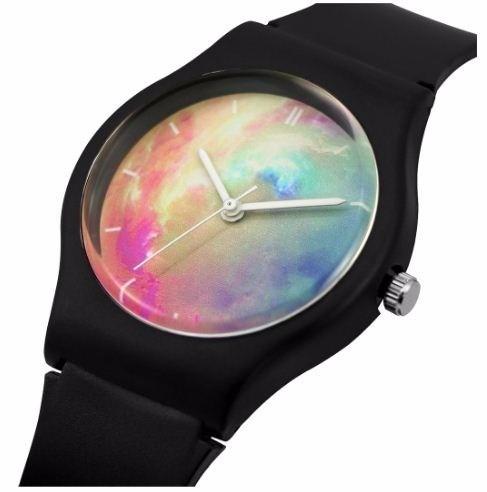 シリコン 腕時計 星空 宇宙 防水 機能性 学生 ブラック宇宙 アナログ クォーツ式 3針_画像1