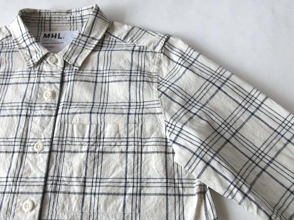 極美品 MHL. マーガレットハウエル 2017SS ROUGH COTTON LINEN コットンリネン チェックシャツ ジャケット 2 日本製 MARGARET HOWELL 春夏_画像5