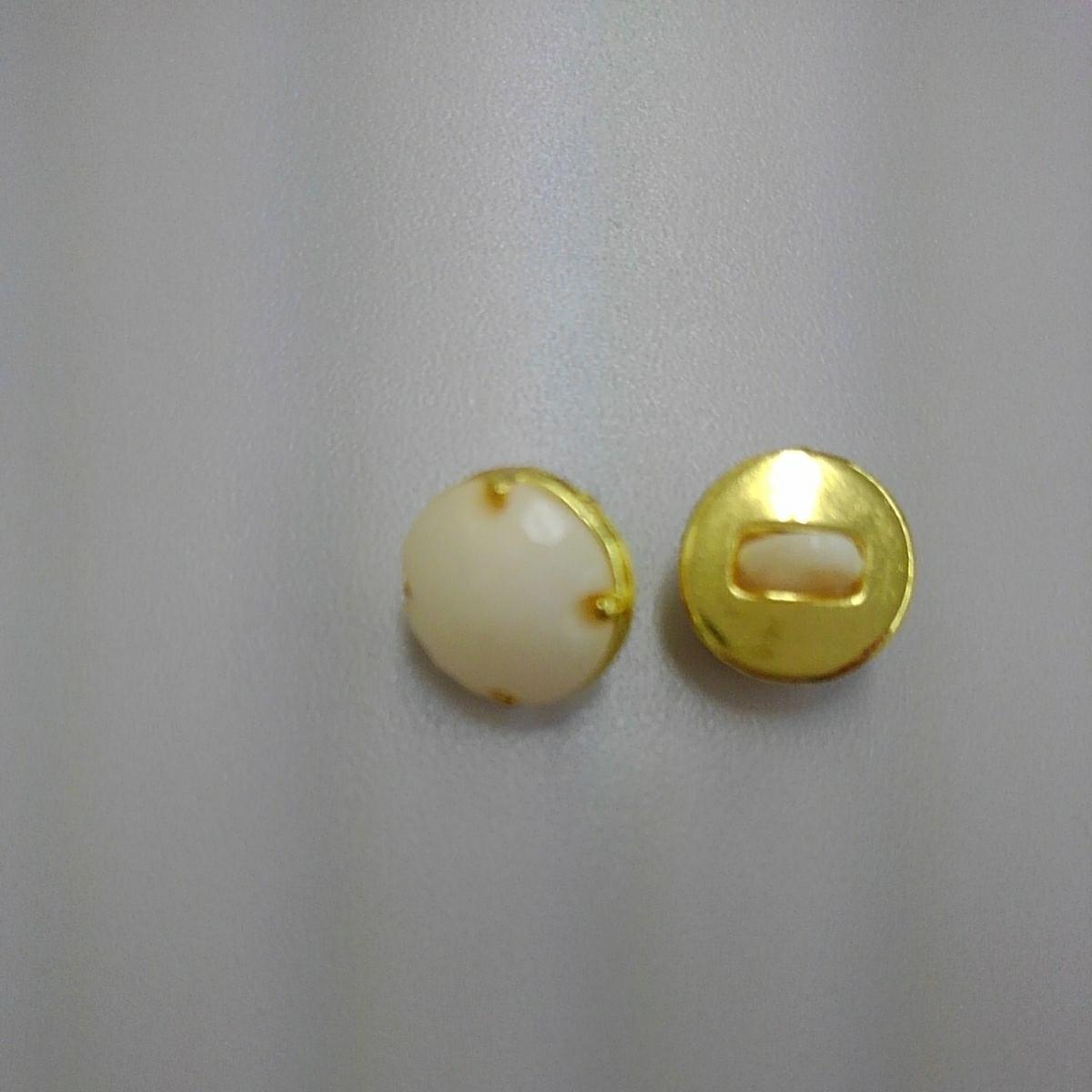◇ビジュー風ボタン クリーム×ゴールド 直径1.1cm 9個セット◇_画像2
