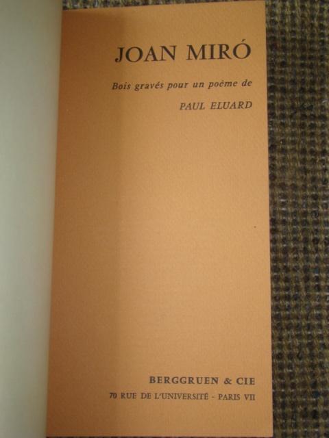 ジョアン・ミロ版画集◆木版画・リトグラフ20点余挿入★ポールエリュアール詩より昭和33(1953)パリGerggruen_画像2