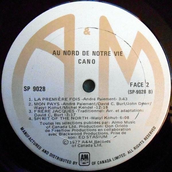 CANO Au Nord De Notre Vie カナダ盤LP A&M ケベック プログレ 1977_画像3