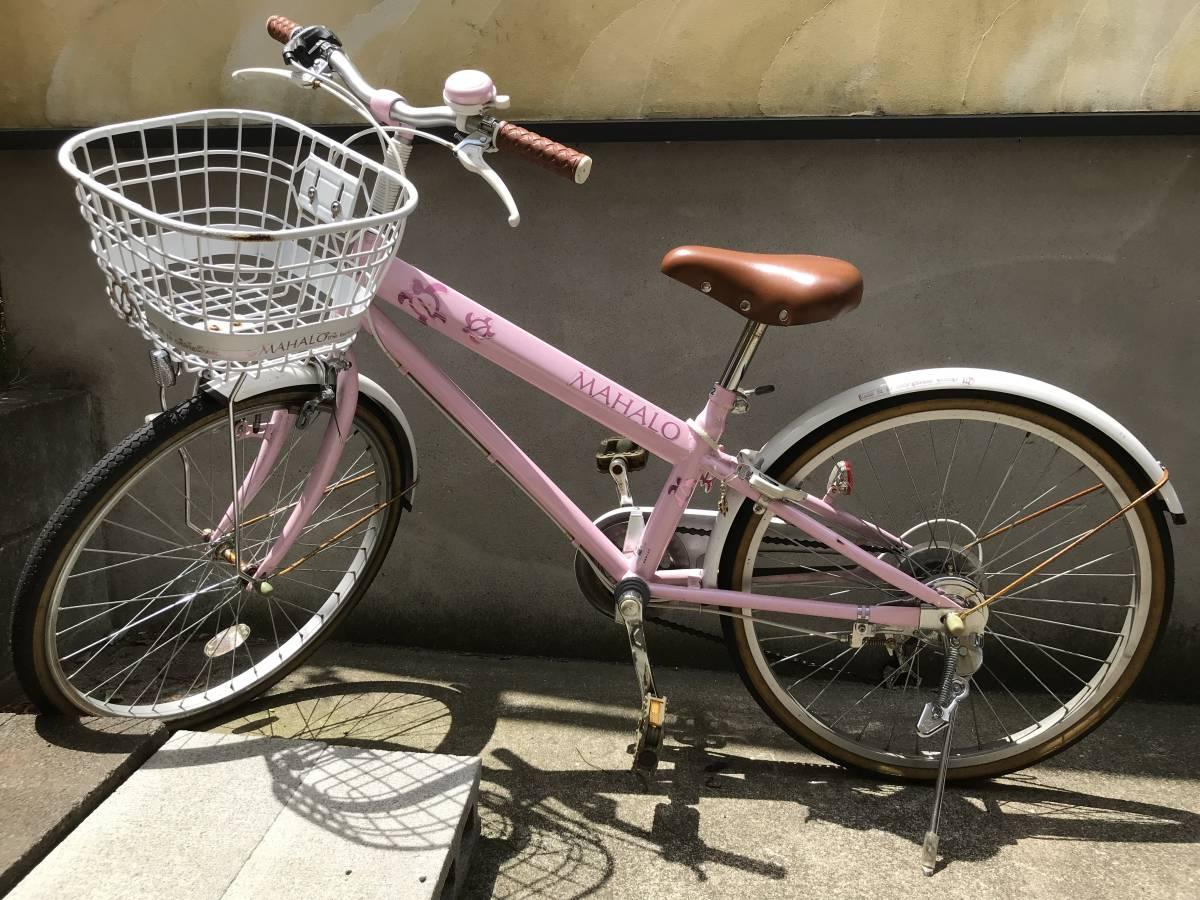 【引き取り限定】中古 神奈川 子供用自転車 22インチ ピンク色