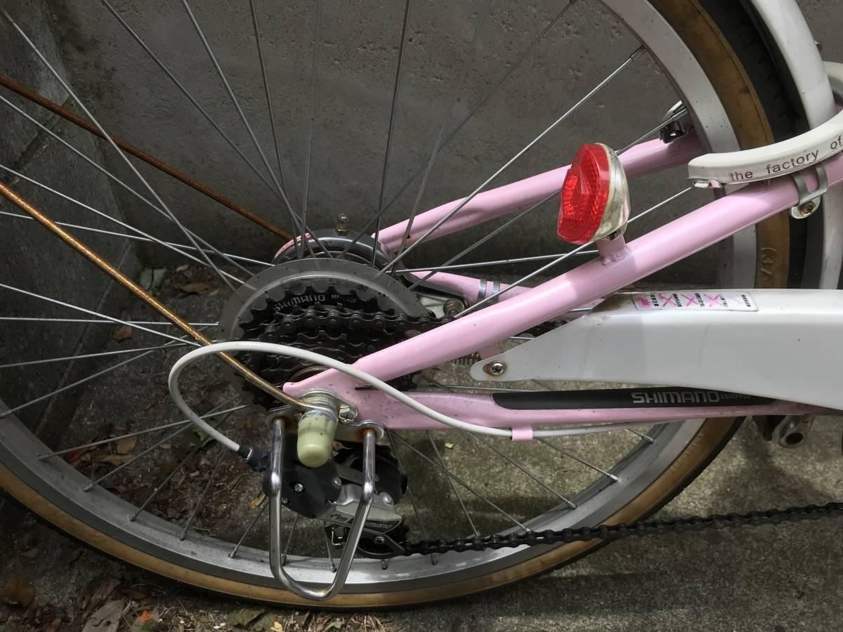 【引き取り限定】中古 神奈川 子供用自転車 22インチ ピンク色 _画像6