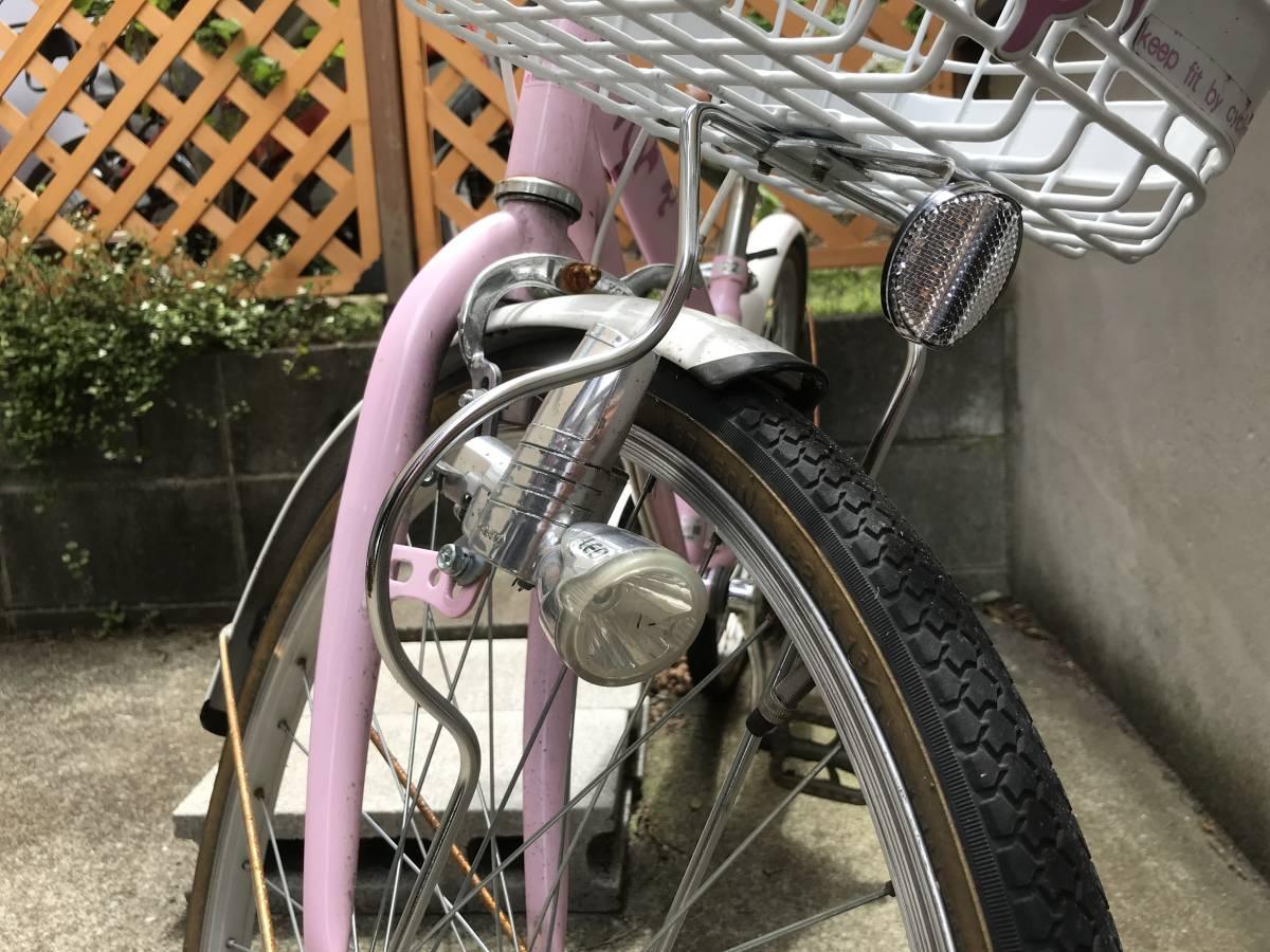 【引き取り限定】中古 神奈川 子供用自転車 22インチ ピンク色 _画像5