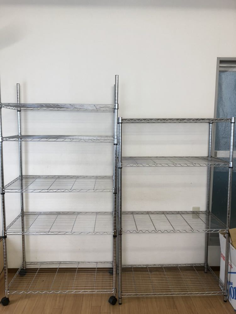 ステンレス製の頑丈な収納棚中古品 高さ183×奥行45×幅90、高さ152×奥行45×幅90 セットで引き取り限定