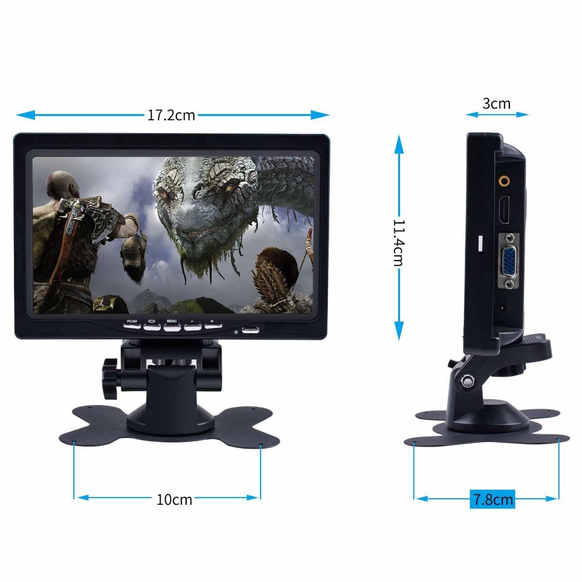 7インチ モニター 小型 1024*600高解像度 HDMI VGA AVポート TFT LED CCTV IPSパネル PCディスプレイ スピーカー内蔵 リモコン 新品未使用_画像2