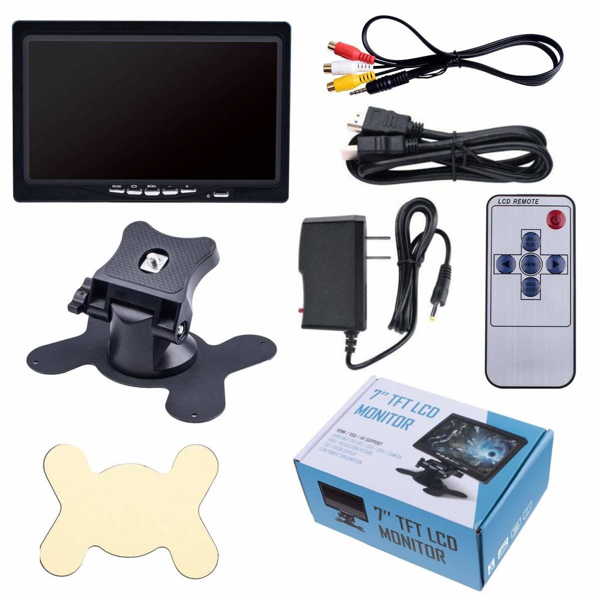 7インチ モニター 小型 1024*600高解像度 HDMI VGA AVポート TFT LED CCTV IPSパネル PCディスプレイ スピーカー内蔵 リモコン 新品未使用_画像7