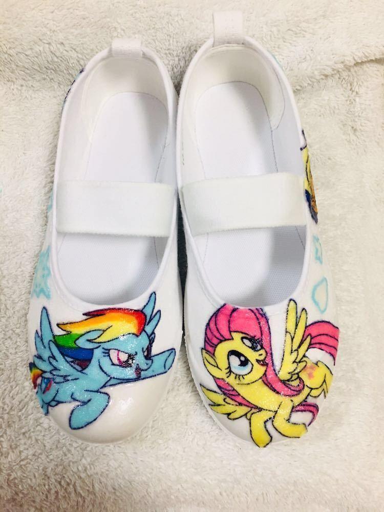 マイリトルポニー  デコ上履き 女の子 キャラクター靴 18cm  上履き 上靴 デコパージュ  オーダー 子供靴 ハンドメイド_画像1