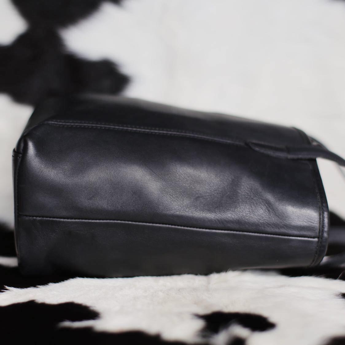 極美品 美品 コーチ COACH トートバッグ バッグ ビジネスバッグ 黒 ブラック レザー メンズバッグ 革 15万 オールドコーチ ビンテージ B5_画像3