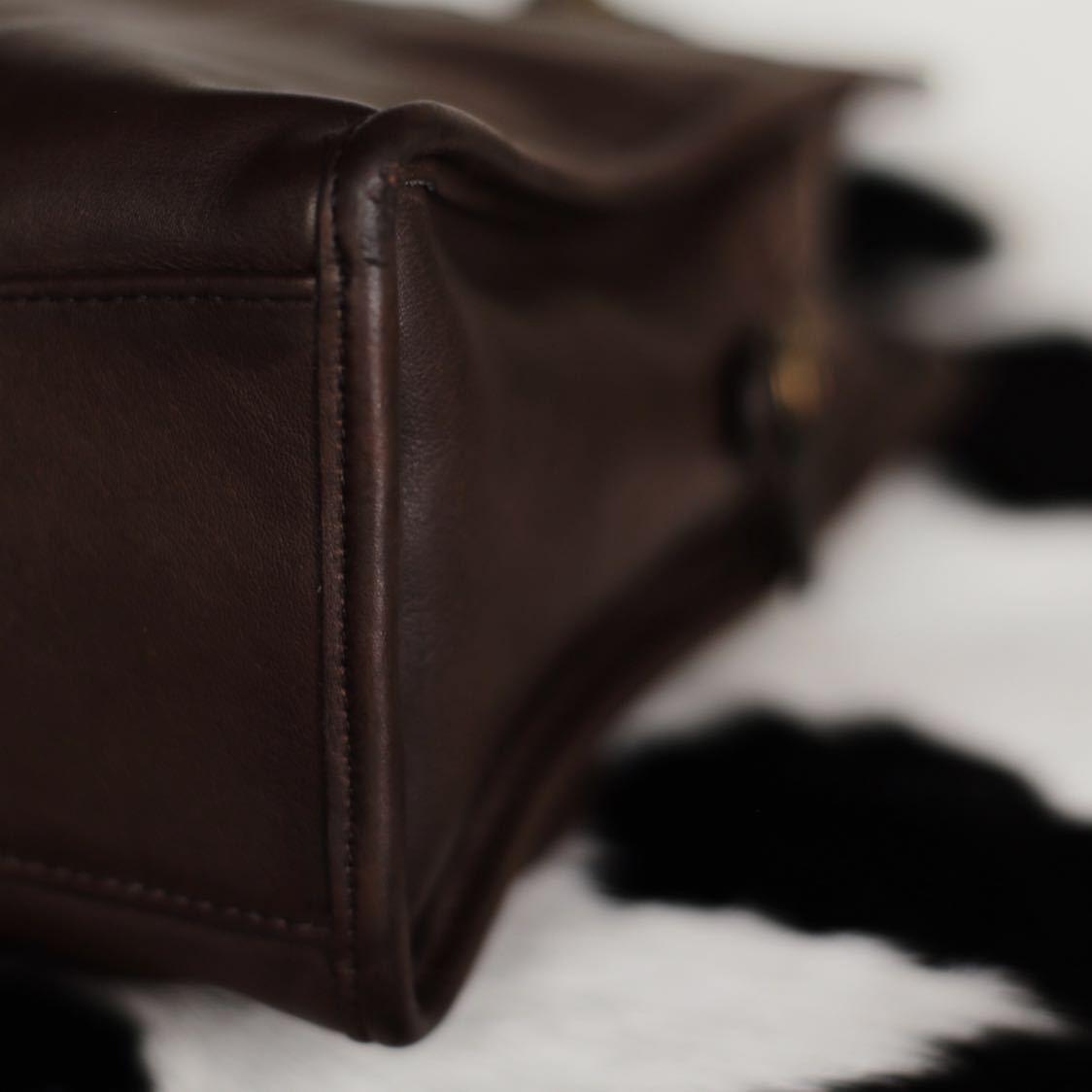 極美品 美品 コーチ COACH ハンドバッグ バッグ ビジネスバッグ 茶 ダークブラウン レザー メンズバッグ 牛革 15万 オールドコーチ _画像5