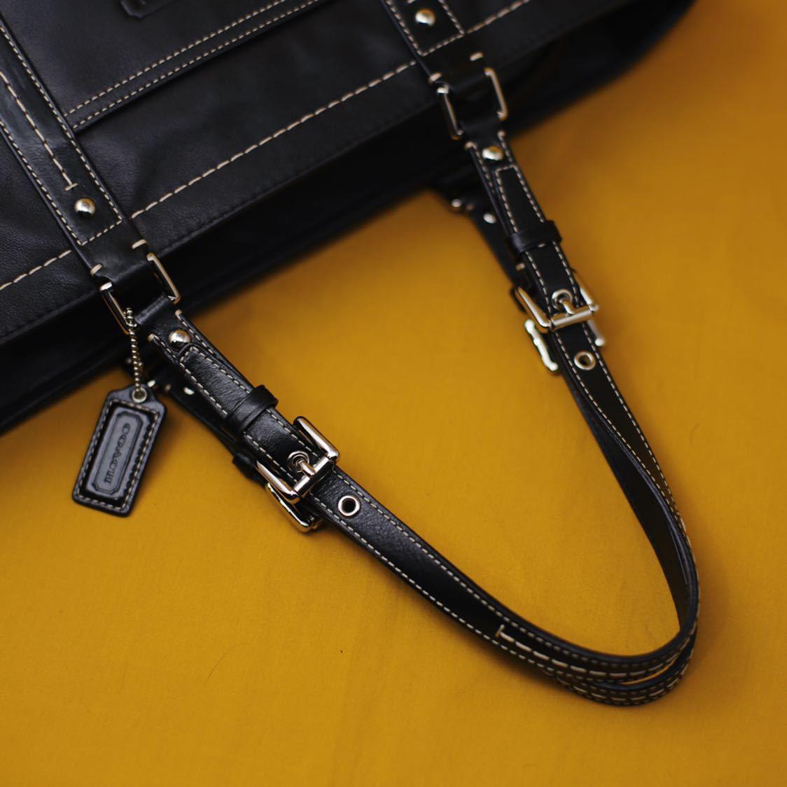 未使用品 美品 コーチ COACH トートバッグ バッグ ビジネスバッグ 黒 ブラック レザー メンズバッグ 革 14万 オールドコーチ ビンテージ _画像7