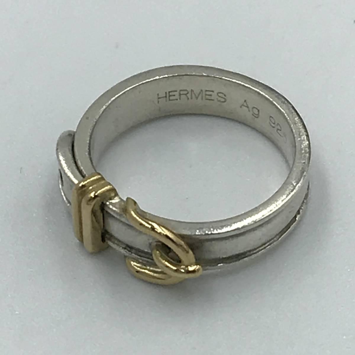 【 1円スタート 】HERMES エルメス ベルトモチーフ リング 指輪 SV925 AU750 ( K18 ) 52 サイズ # 12_画像4