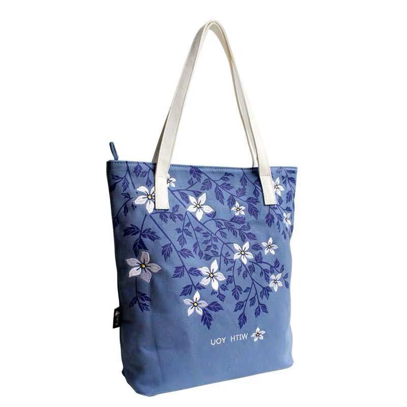 刺繍 花柄 キャンバス帆布 トートバッグ ハンドバッグ ハンドメイド _画像3