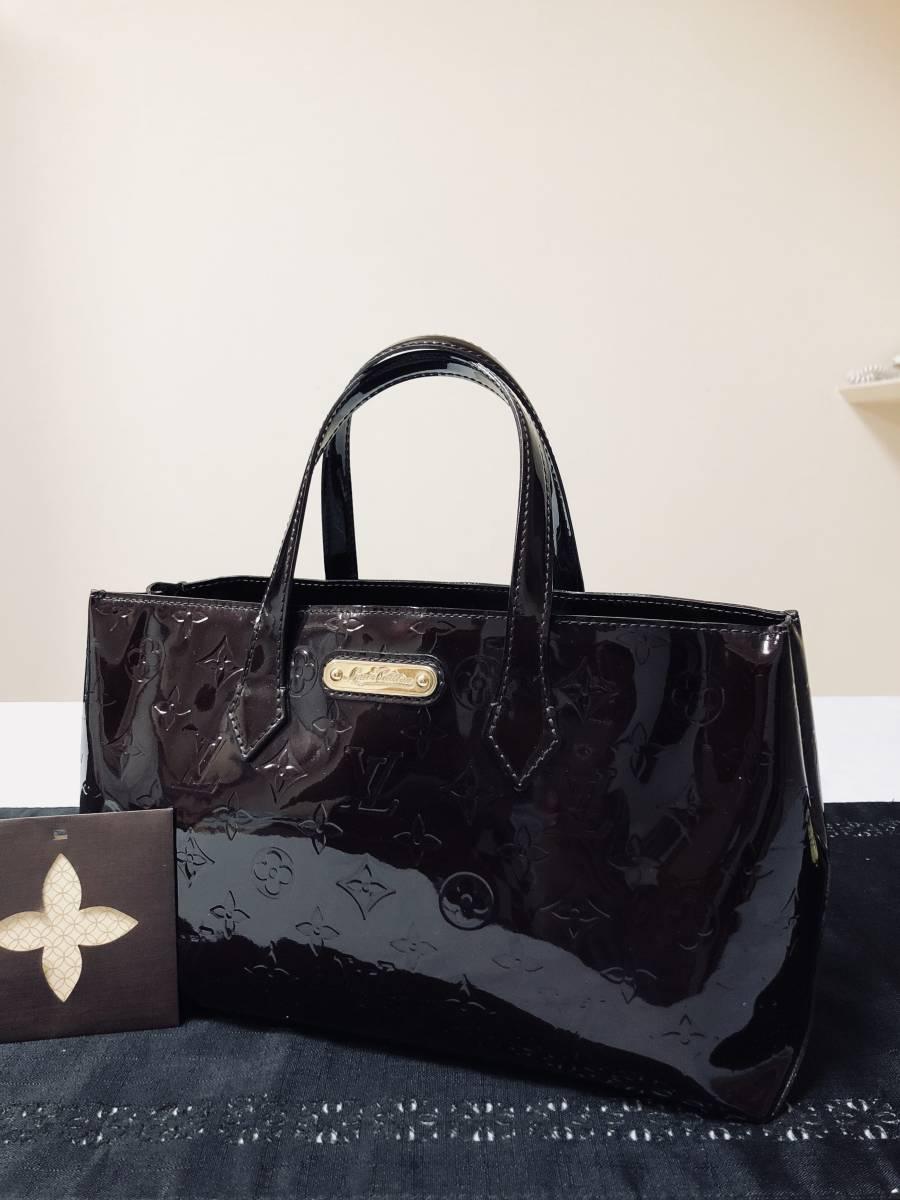 ◆ 超美品 ◆ ルイヴィトン LOUIS VUITTON ヴェルニ ライン ウィルシャー アマラント バッグ