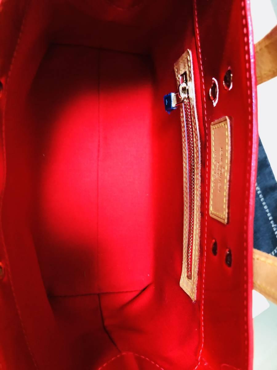 ◆ 超美品 ◆ ルイヴィトン LOUIS VUITTON ヴェルニ ライン 赤 リードPM バッグ_画像4