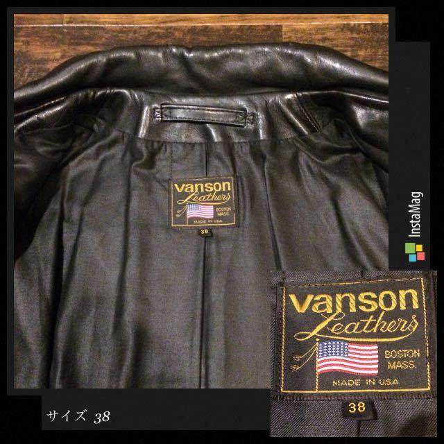 革質◎送料無料 90s 初期モデル vanson ENF【38】バンソン エンフィールド AERO LEATHER/エアロレザー シングル ショット ハーフベルト 36_画像3