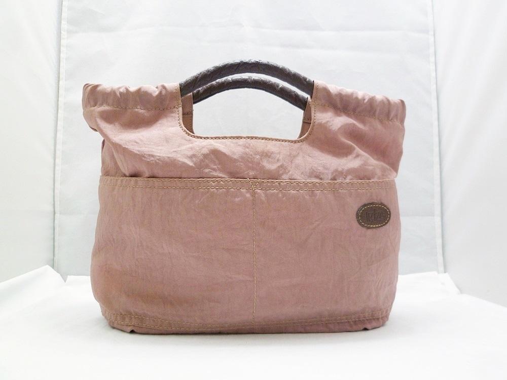 19-1350【中古】IBIZA イビザ イビサ ナイロン ハンドバッグ ピンク 花 ワンポイント 日本製 保存袋つき レディース_画像1