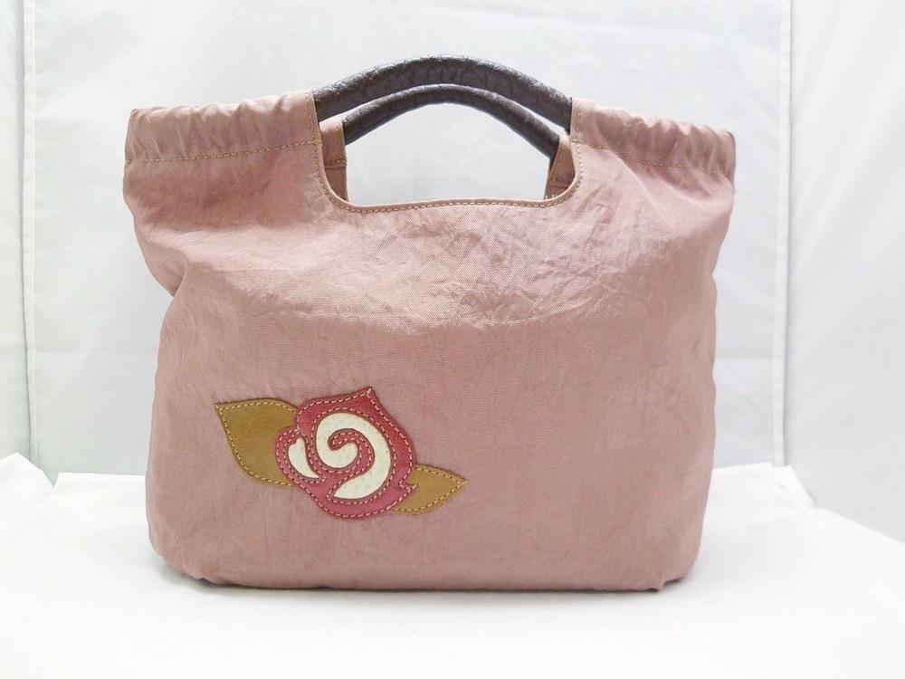 19-1350【中古】IBIZA イビザ イビサ ナイロン ハンドバッグ ピンク 花 ワンポイント 日本製 保存袋つき レディース_画像2