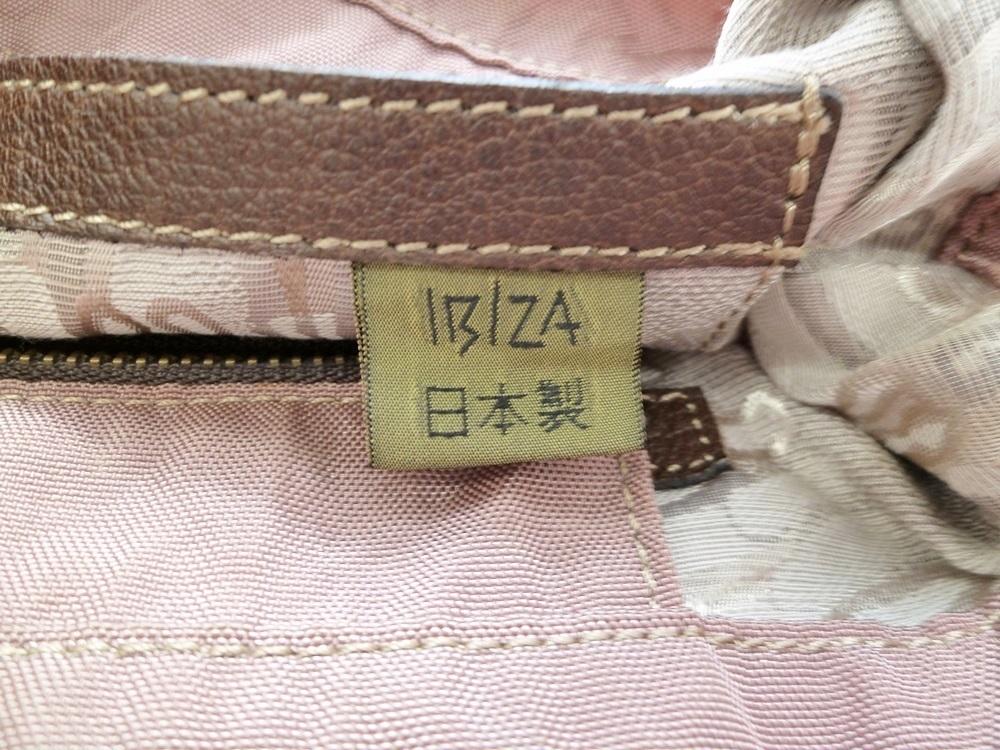 19-1350【中古】IBIZA イビザ イビサ ナイロン ハンドバッグ ピンク 花 ワンポイント 日本製 保存袋つき レディース_画像9