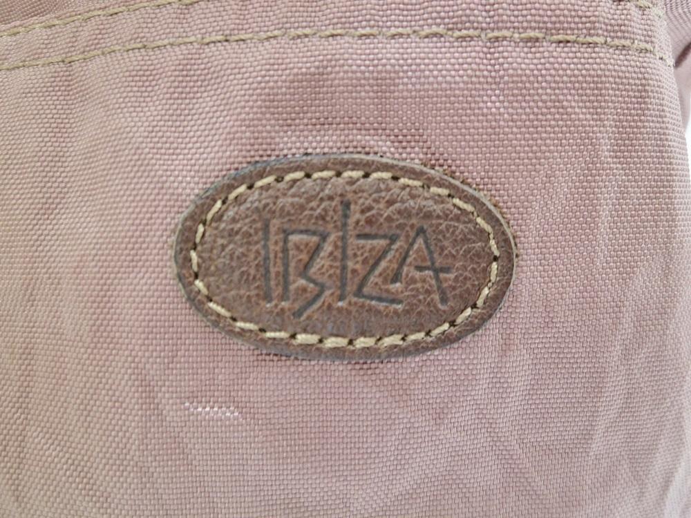 19-1350【中古】IBIZA イビザ イビサ ナイロン ハンドバッグ ピンク 花 ワンポイント 日本製 保存袋つき レディース_画像6
