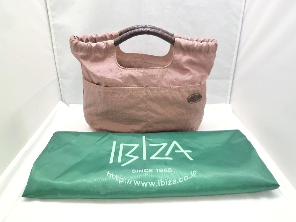 19-1350【中古】IBIZA イビザ イビサ ナイロン ハンドバッグ ピンク 花 ワンポイント 日本製 保存袋つき レディース_画像10