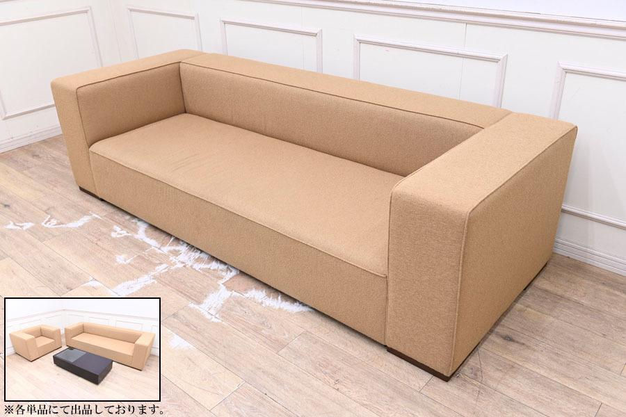 TI0821 モデルルーム展示品 高級家具 40万円 タイム&スタイル TIME&STYLE 3P ソファー トリプルソファ 三人掛け 1Pとテーブルは別売り_画像1