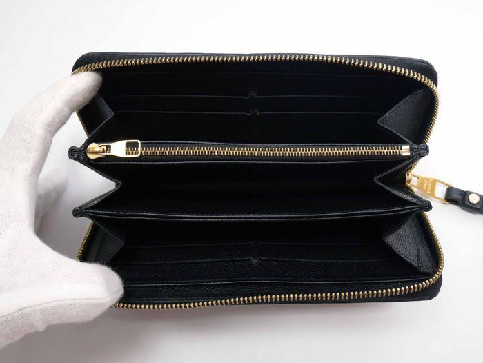 【極美品】ルイヴィトン Louis Vuitton モノグラム アンプラント ジッピーウォレット 黒 長財布 レザー 定価約12万円_画像9